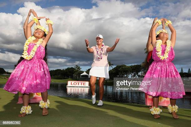 Cristie Kerr dances the hula on the 18th green after winning the LPGA LOTTE Championship Presented By Hershey at Ko Olina Golf Club on April 15 2017...