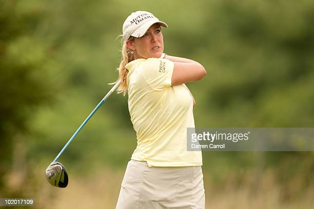 Cristie Kerr follows through on a tee shot during the third round of the LPGA State Farm Classic at Panther Creek Country Club on June 12 2010 in...