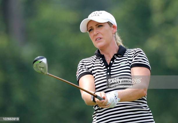 Cristie Kerr hits a shot during a practice round prior to to the start of the 2010 US Women's Open at Oakmont Country Club on July 6 in Oakmont...