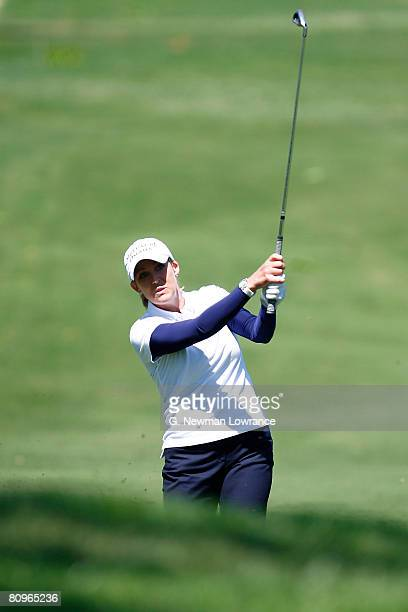 Cristie Kerr hits a shot on the 8th hole during the second round of the SemGroup Championship presented by John Q Hammons on May 2 2008 at Cedar...