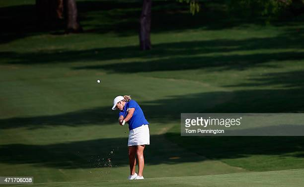 Cristie Kerr hits a shot on the ninth hole during Round One of the 2015 Volunteers of America North Texas Shootout Presented by JTBC at Las Colinas...