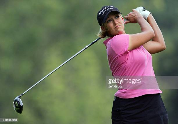 Cristie Kerr hits a tee shot on the twelfth hole during the second round of the John Q Hammons Hotel Classic on September 9 2006 at the Cedar Ridge...