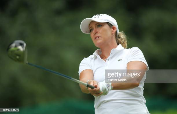 Cristie Kerr hits her tee shot on the 13th hole during the final round the LPGA Championship presented by Wegmans at Locust Hill Country Club on June...
