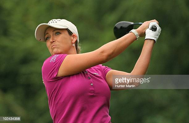 Cristie Kerr hits her tee shot on the sixth hole during the third round of the LPGA Championship presented by Wegmans at Locust Hill Country Club on...