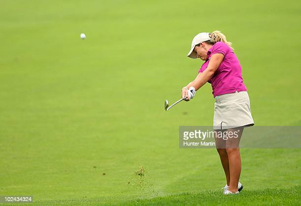 Cristie Kerr hits her third shot on the fourth hole during the third round of the LPGA Championship presented by Wegmans at Locust Hill Country Club...