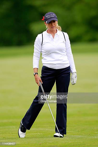 Cristie Kerr hits her third shot to the second hole during round one of the Sybase Match Play Championship at Hamilton Farm Golf Club on May 19 2011...