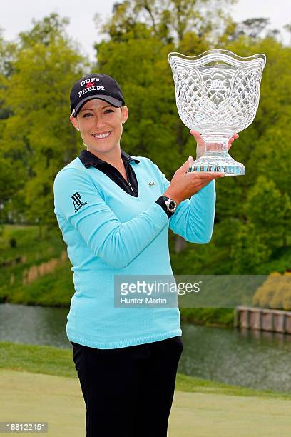 Cristie Kerr holds the championship trophy after winning the Kingsmill Championship at Kingsmill Resort on May 5 2013 in Williamsburg Virginia