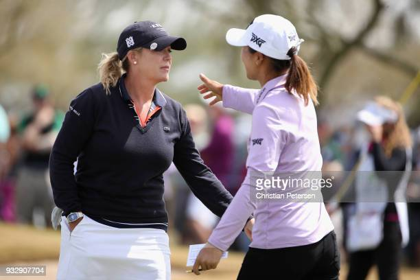 Cristie Kerr hugs Lydia Ko of New Zealand after completing the second round of the Bank Of Hope Founders Cup at Wildfire Golf Club on March 16 2018...