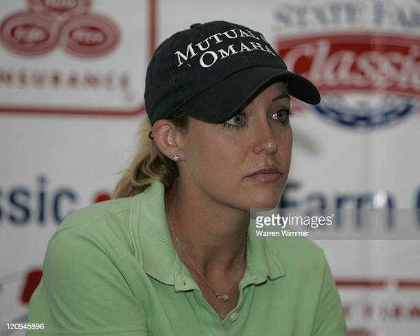 Cristie Kerr meets the media during the third round of 2005 State Farm Classic at The Rail Golf Club Springfield Illinois September 3 2005 Kerr...