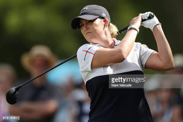 Cristie Kerr of the United States hits her second shot on the 1st hole during day three of the ISPS Handa Australian Women's Open at Kooyonga Golf...