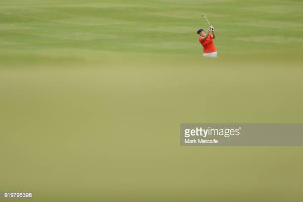 Cristie Kerr of the United States plays her approach shot on the 13th hole during day four of the ISPS Handa Australian Women's Open at Kooyonga Golf...