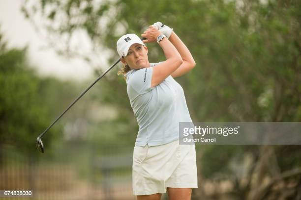 Cristie Kerr of the United States plays her tee shot at the second hole during the third round of the Volunteers of America North Texas Shootout at...