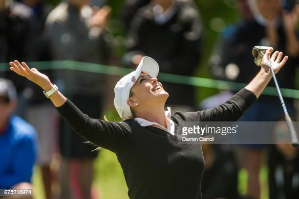 Cristie Kerr of the United States reacts to making a birdie putt at the eighth hole during the final round of the Volunteers of America North Texas...