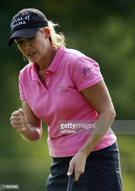 Cristie Kerr pumps her fist after making a birdie putt on the seventeenth hole during the second round of the John Q Hammons Hotel Classic on...