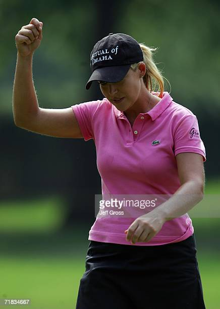 Cristie Kerr reacts after making a birdie putt on the thirteenth hole during the second round of the John Q Hammons Hotel Classic on September 9 2006...