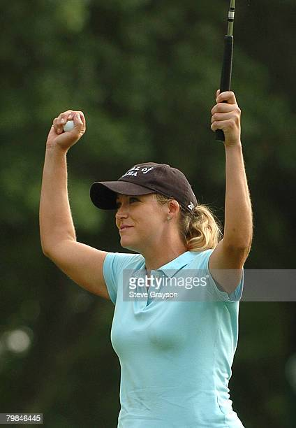 Cristie Kerr reacts after putting out on the 18th green to win the 2006 John Q Hammons Hotel Classic at the Cedar Ridge Country Club in Broken Arrow...
