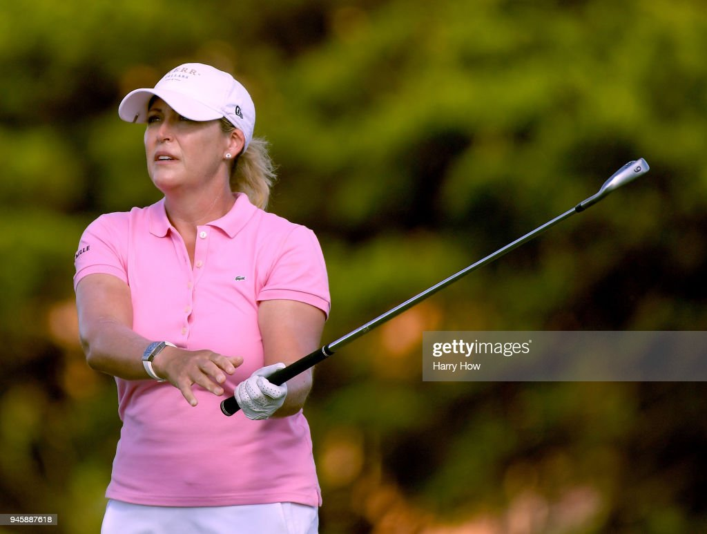 Cristie Kerr reacts to her second shot on the first hole during the third round of the LPGA LOTTE Championship at the Ko Olina Golf Club on April 13, 2018 in Kapolei, Hawaii.