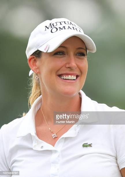 Cristie Kerr smiles on the 18th green after winning the LPGA Championship presented by Wegmans at Locust Hill Country Club on June 27 2010 in...