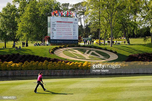 Cristie Kerr walks to her ball on the 18th green during the third round of the Kingsmill Championship at Kingsmill Resort on May 4 2013 in...