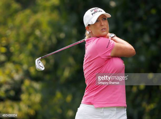 Cristie Kerr watches her tee shot on the second hole during the final round of the Marathon Classic presented by Owens Corning and OI at Highland...