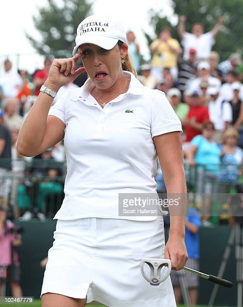 Cristie Kerr wipes a tear from her eye after her 12-stroke victory at the LPGA Championship presented by Wegmans 2010 at the Locust Hill Country Club...