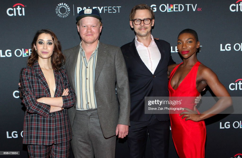 Cristin Milioti, Jesse Plemons, Jimmi Simpson and Michaela Coel attend PaleyFest NY 2017 'Black Mirror' at The Paley Center for Media on October 6, 2017 in New York City.