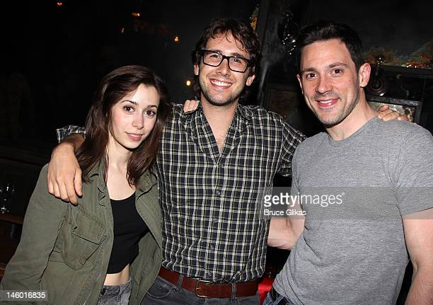 Cristin Milioti Josh Groban and Steve Kazee pose backstage at the hit musical 'Once' on Broadway at The Bernard B Jacobs Theatre on June 8 2012 in...