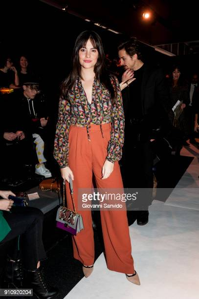 Cristina Abad is seen at the Ailanto show during the MercedesBenz Fashion Week Madrid Autumn/Winter 201819 at Ifema on January 27 2018 in Madrid Spain