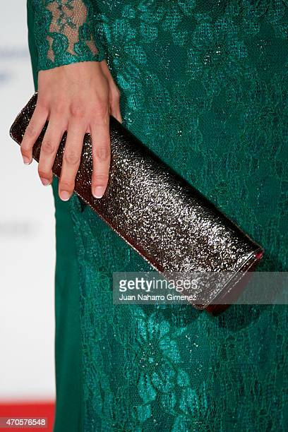 Cristina Alarcon purse detail attends the 'Requisitos Para Ser Una Persona Normal' premiere during the 18th Malaga Spanish Film Festival at Cervantes...