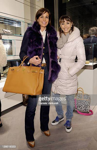 Cristina and Benedetta Parodi attend the Rodo Firenze flagship store opening as part of Milan Womenswear Fashion Week on February 22, 2012 in Milan,...