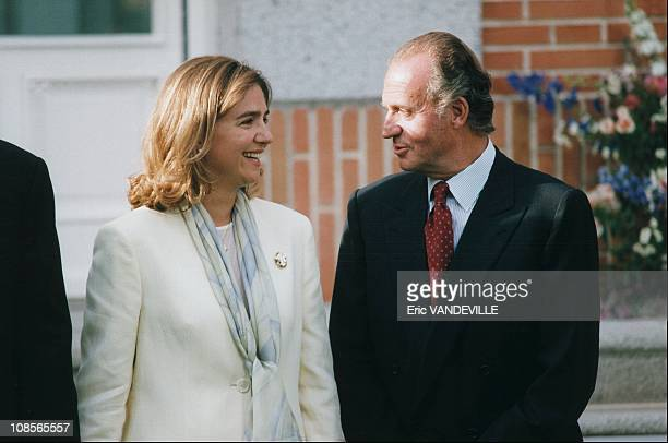 Cristina and Juan Carlos in the engagement of Christina of Spain and Inaki Urdangarin in Madrid Spain on May 3rd 1997