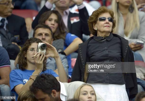 Cristina Balotelli and Silvia Balotelli the adoptive sister and mother of Mario Balotelli look on during the UEFA EURO 2012 semi final match between...