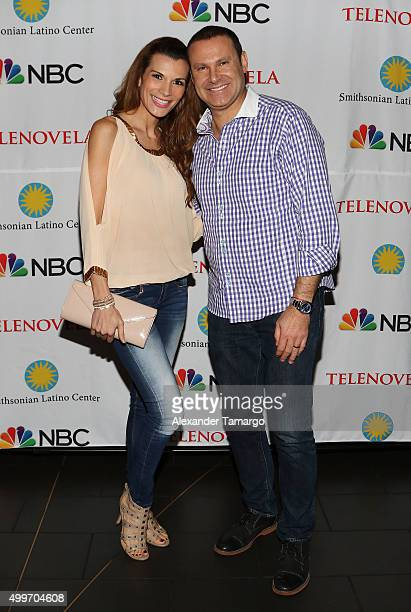 Cristina Bernal and Alan Tacher are seen at the 'Telenovela' Miami screening event Hosted By The Smithsonian at CineBistro Dolphin Mall on December 2...