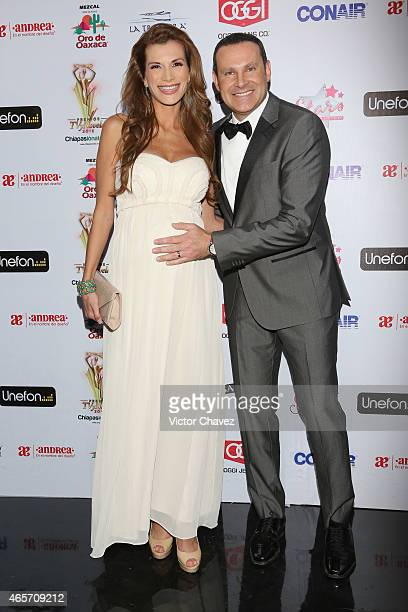 Cristina Bernal and Alan Tacher arrive at Premios TV y Novelas 2015 at Televisa San Angel on March 9 2015 in Mexico City Mexico