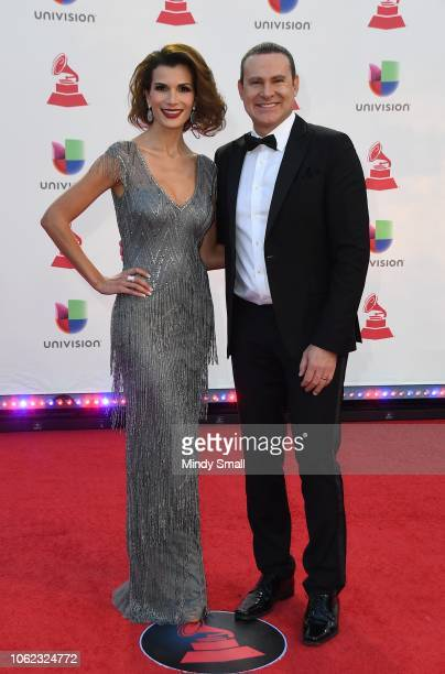 Cristina Bernal and Alan Tacher attend the 19th annual Latin GRAMMY Awards at MGM Grand Garden Arena on November 15 2018 in Las Vegas Nevada