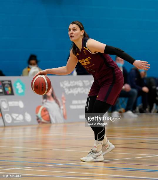 Cristina Bigica seen in action during the Women's British Basketball League match between WBBL Cardiff Archers and Caledonia Pride at Cardiff Archers...
