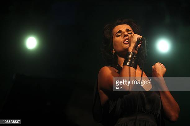 Cristina Branco Portuguese Fado singer performs in downtown Lisbon on August 5 2010 Fado is a genre of Portguese folk music characterised by mournful...