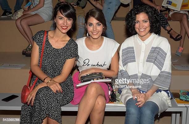 Cristina Brondo and Aida Flix attend the front row of Yerse show during the Barcelona 080 Fashion Week Spring/Summer 2017 at the INFEC on June 27...