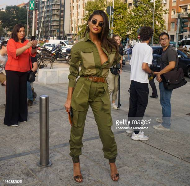Cristina Buccino is seen during the Milan Fashion Week Spring/Summer 2020 on September 18 2019 in Milan Italy