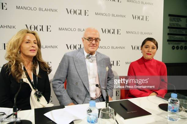 Cristina Carrillo de Albornoz Manolo Blahnik and Eugenia de la Torriente attend the opening of the exhibition 'Manolo Blahnik El Arte del Zapato' at...