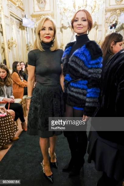 Cristina Castaño Carmen Lomana during fashion week ATELIER COUTURE fashionable bridal and luxury in ceremony at the Fernan Nunez Palace in Madrid...