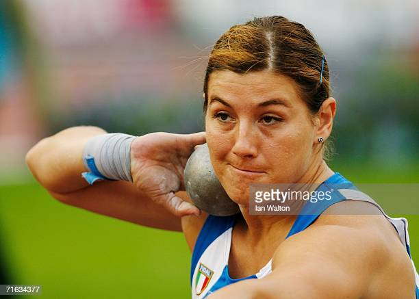 Cristina Checchi of Italy competes during the Women's Shot Put Final on day six of the 19th European Athletics Championships at the Ullevi Stadium on...
