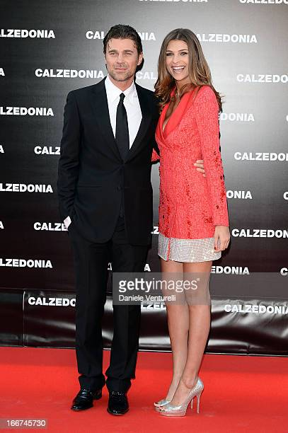 Cristina Chiabotto and Fabio Fulco arrive at the Calzedonia 'Forever Together' show on April 16 2013 in Rimini Italy