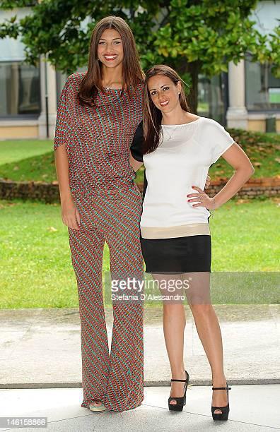 Cristina Chiabotto and Serena Garitta attend 'Comedy Tour Risollevante' Photocall on June 11 2012 in Milan Italy