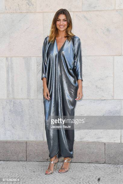 Cristina Chiabotto arrives at the Alberta Ferretti show during Milan Men's Fashion Week Spring/Summer 2019 on June 15 2018 in Milan Italy