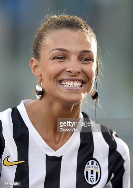 Cristina Chiabotto attends the TIM Supercup match between SS Lazio and FC Juventus at Olimpico Stadium on August 18 2013 in Rome Italy