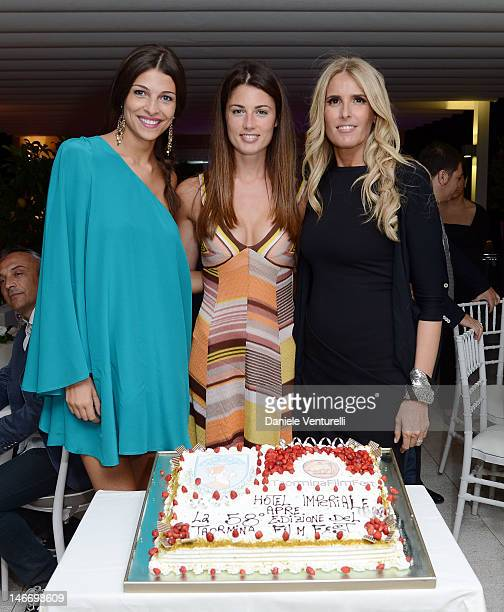 Cristina Chiabotto Daniela Ferolla and Tiziana Rocca attends the 'Preopening Gala Dinner' during the 58th Taormina Film Fest at Hotel Imperiale on...