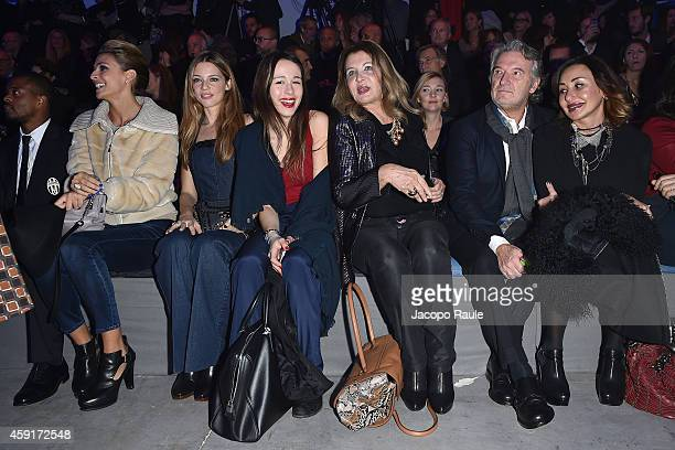 Cristina Chiabotto, Gaia Trussardi, Aurora Ramazzotti and Maria Luisa Trussardi attend the Trussardi Jeans FW 15/16 event at Laboratori Ansaldo Scala...