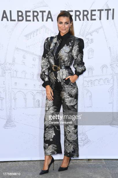 Cristina Chiabotto is seen arriving at the Alberta Ferretti fashion show during the Milan Women's Fashion Week on September 23, 2020 in Milan, Italy.