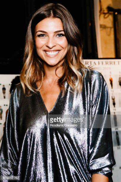 Cristina Chiabotto is seen backstage ahead of the Alberta Ferretti show during Milan Men's Fashion Week Spring/Summer 2019 on June 15 2018 in Milan...
